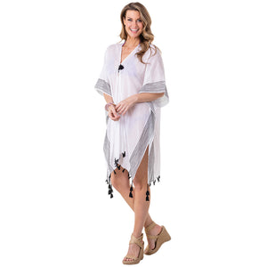 White & Black Striped Stitching Swim Cover Up