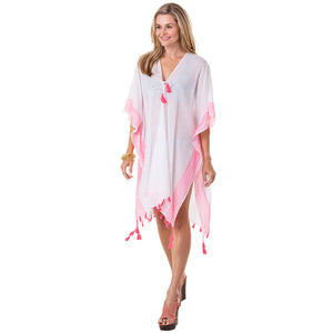 White & Hot Pink Striped Stitching Swim Cover Up