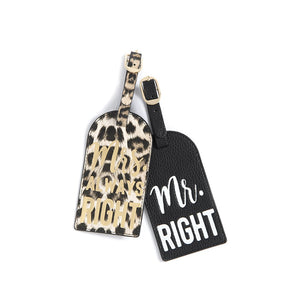 "SET OF 2 ""MR. RIGHT/MRS. ALWAYS RIGHT"" LUGGAGE TAGS,BLACK"