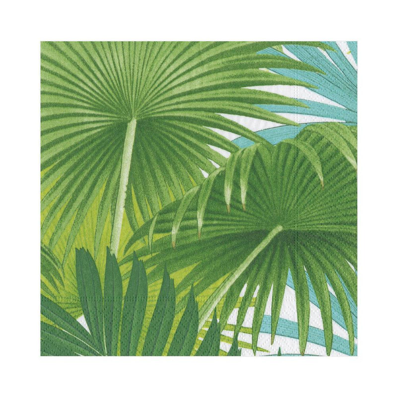 Palm Fronds Paper Luncheon Napkins in White