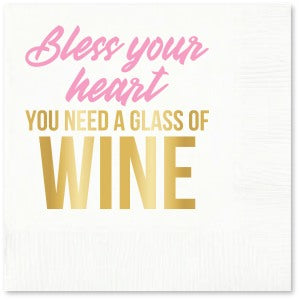 NEED WINE BLESS YOUR HEART BEVERAGE NAPKIN - pack of 20