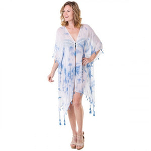 White & Blue Tie Dye Swim Cover Up