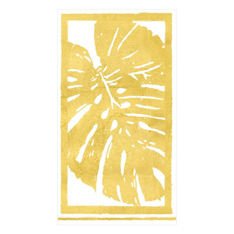 Palm Leaves Paper Guest Towel Napkins in Gold