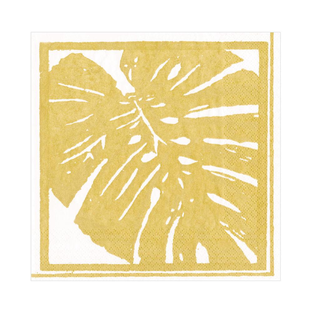 Palm Leaves Paper Luncheon Napkins in Gold