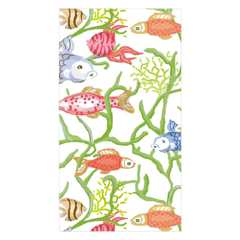 Tropical Reef Paper Guest Towel Napkins in White