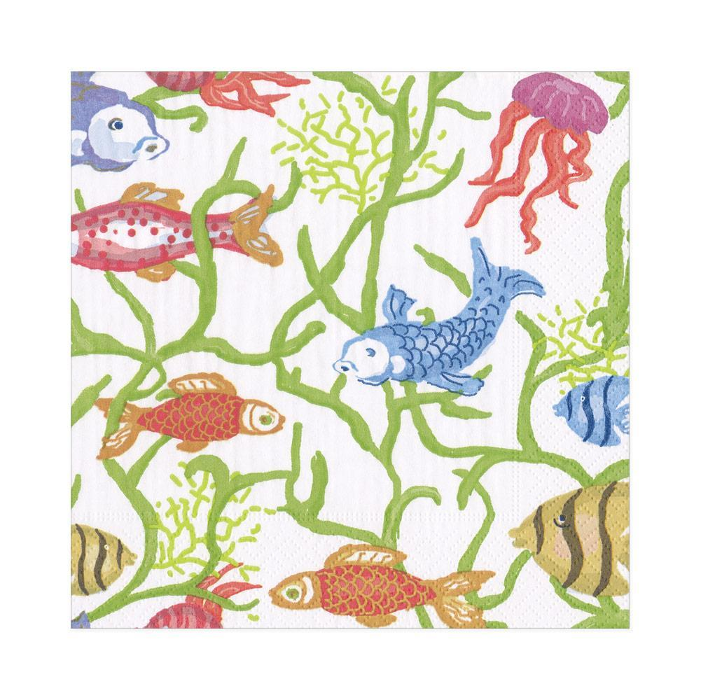 Tropical Reef Paper Luncheon Napkins in White