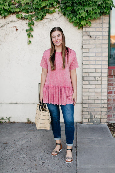 Mineral Wash Rose' Top