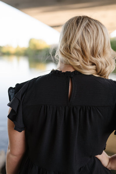 Midnight Black Tiered Ruffle Top