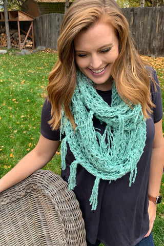 Chenille Infinity Scarf in Teal