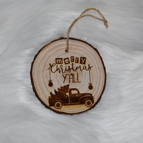 Merry Christmas Y'all Wood Ornament