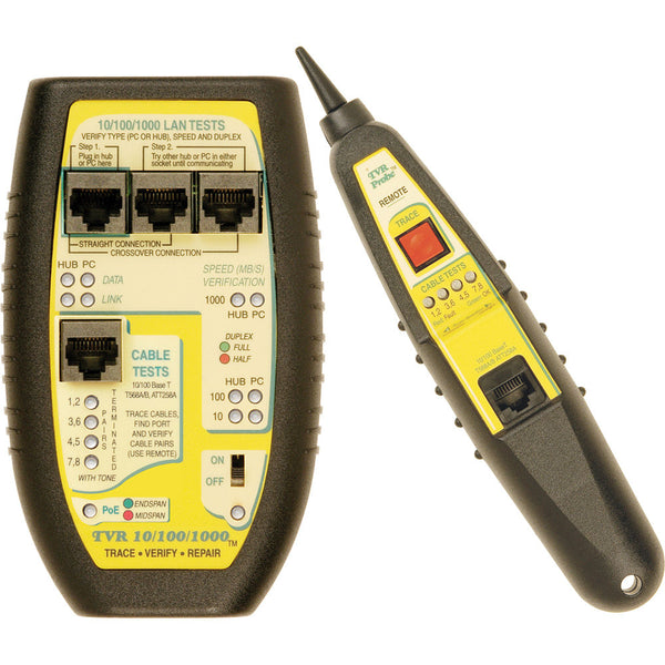 Triplett LAN Tester with Remote Probe for Hubs, Switches, PCs, and Cables - (TVR10/10/100)