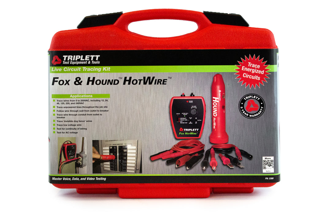 Fox & Hound HotWire™ Live Wire Tone & Probe Kit: Trace Live 120/220VAC Power Lines - (3388)