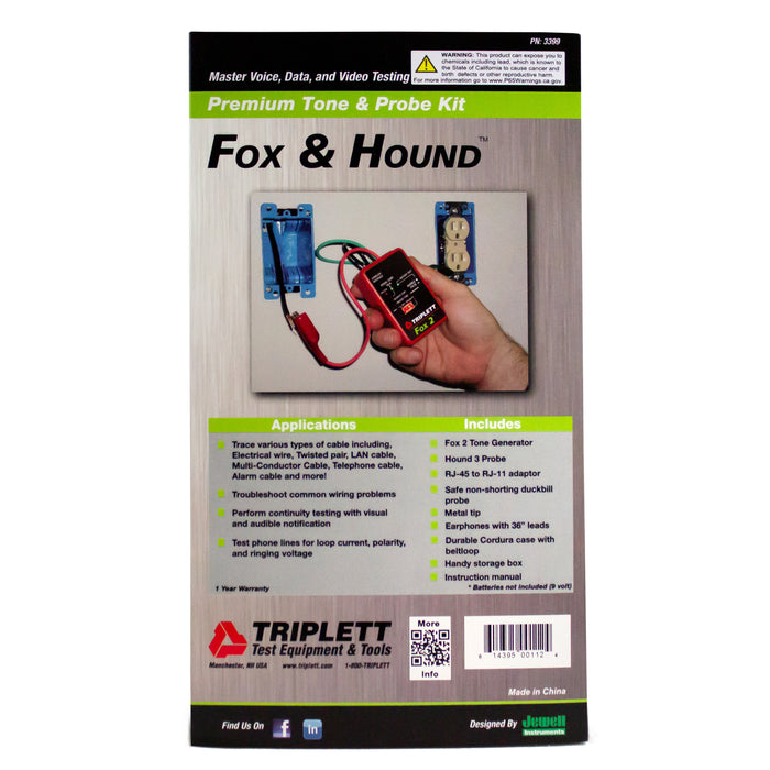 Fox & Hound™ Premium Tone & Inductive Amplifier Probe Kit: Overload Protection Up to 120VAC - (3399)