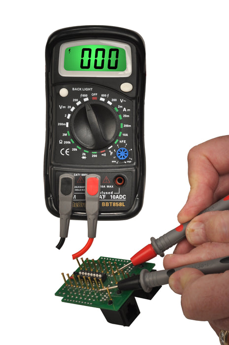3 ½ Digit Pocket Digital Multimeter with Temperature Measurement: CAT III 600V - (BBT858L)