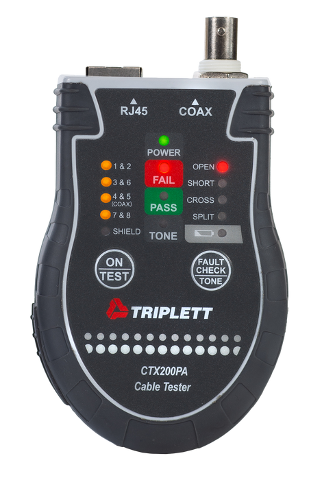 Pocket Cat™  RJ45 and Coax Tester: Traces Wire Types and Performs TI1568 Tests  - (CTX200)