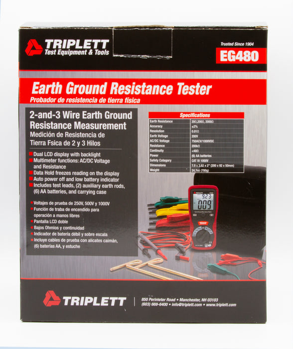 2-and-3 Wire Earth Ground Resistance Tester -  Measures Earth Ground Resistance from 20Ω to 2000Ω - (EG480)