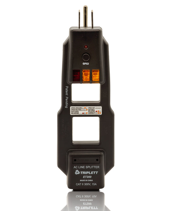 Commercial and Residential Combination AC Line Spliter and GFCI Receptacle Tester:  Tests 3-Wire Receptacles - (ET200)