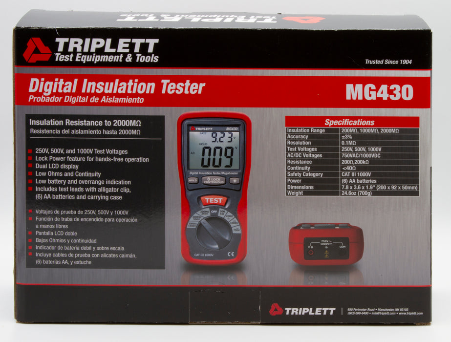 Digital Insulation Tester - Tests Insulation Resistance to 2000MΩ, CAT III 1000V  - (MG430)