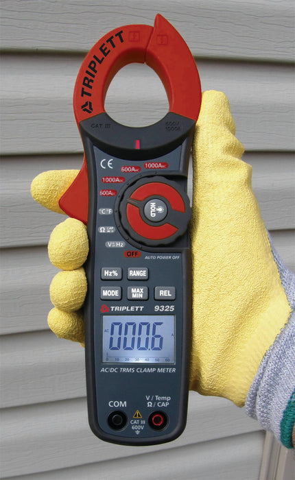 3 ¾ Digit 6000 Count True RMS 1000A AC/DC Clamp-On Meter : 28 Ranges, CAT III 600V  - (9325)