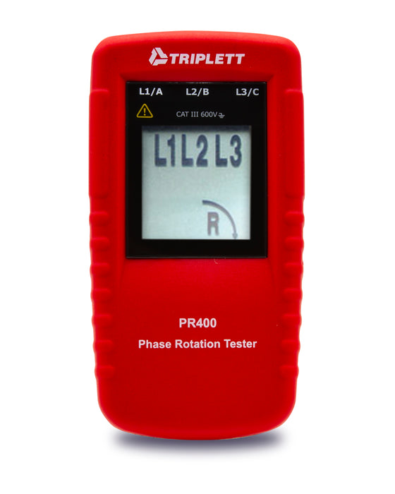 Phase Rotation Tester:  Determines Correct Phase Wiring Sequence for 3-Phase System Installations CATIII 600V - (PR400)