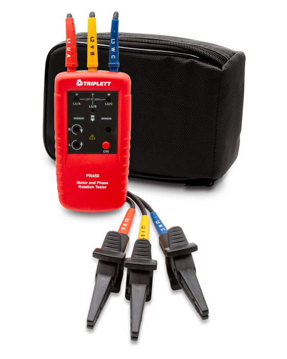 Motor and Phase Rotation Tester : Determines Correct Phase Wiring Sequence & Contact/Non-contact Motor-Rotation Direction - (PR450)