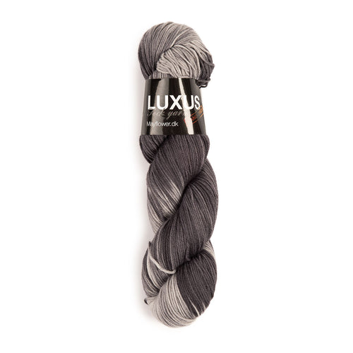 Luxus Sock Yarn Fr. 5115 - Mayflower, Handgefärbt, 75% Reine Schurwolle Superwash, 25% Nylon (Polyamid)