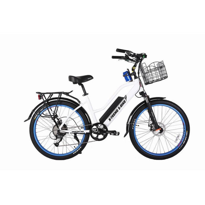 Electric Bike - X-Treme Catalina High-End Step-Thru Beach Cruiser Electric Bike 48V 500W - WHITE