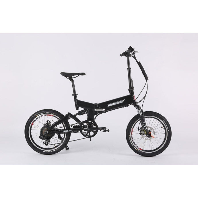 Electric Bike - X-Treme E-Rider Mini Foldable Electric Bike 48v 500W - BLACK