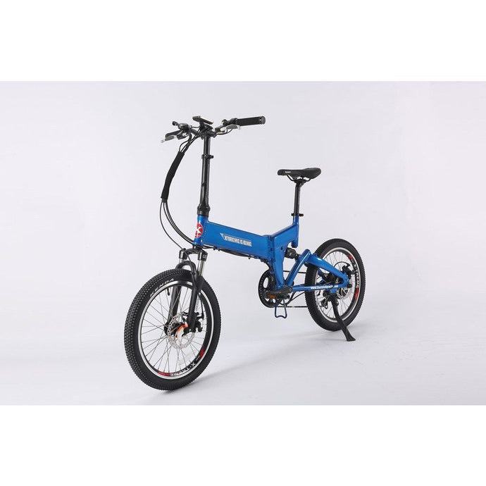 Electric Bike - X-Treme E-Rider Mini Foldable Electric Bike 48v 500W - BLUE
