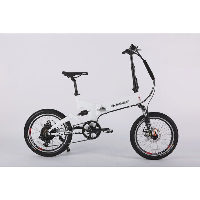 Electric Bike - X-Treme E-Rider Mini Foldable Electric Bike 48v 500W - WHITE