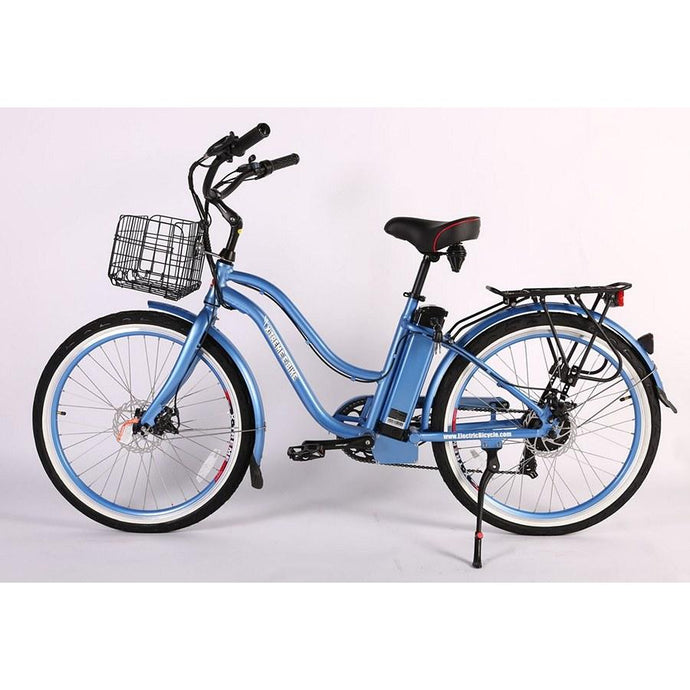 Electric Bike - X-treme Malibu Elite Max Beach Cruiser Step Through Electric Bike 36V 350W - BABY BLUE