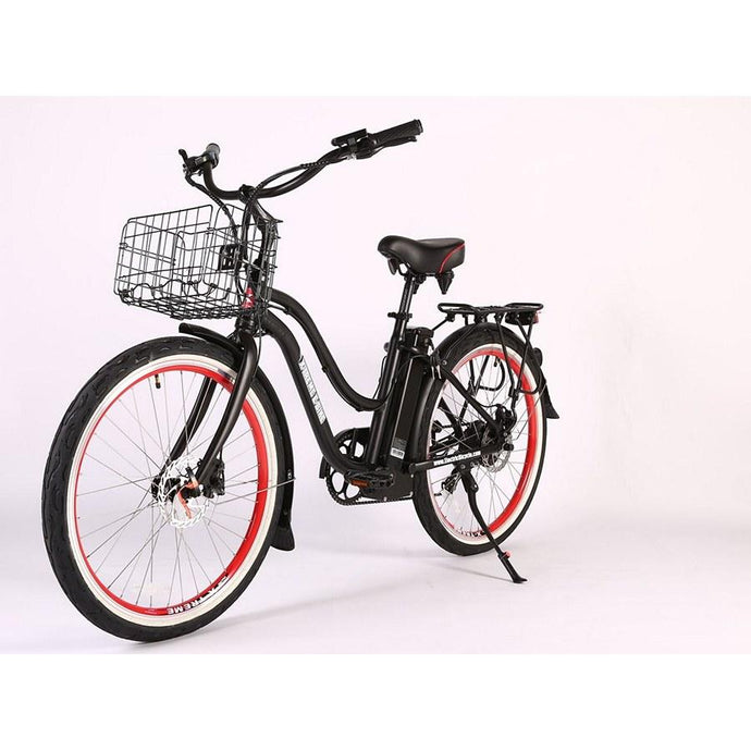 Electric Bike - X-treme Malibu Elite Max Beach Cruiser Step Through Electric Bike 36V 350W - BLACK