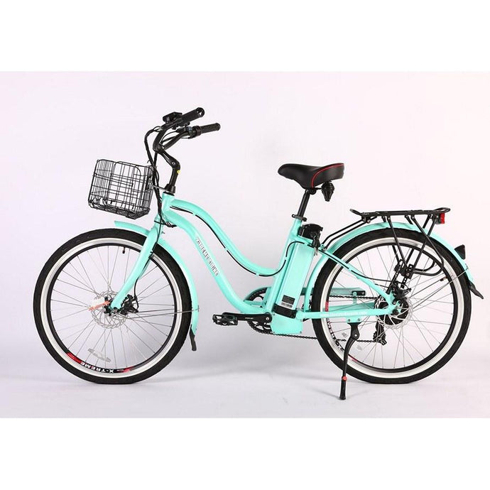 Electric Bike - X-treme Malibu Elite Max Beach Cruiser Step Through Electric Bike 36V 350W - MINT GREEN