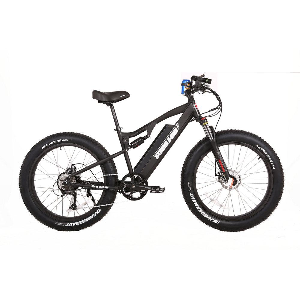 Electric Bike - X-Treme Rocky Road 500W 48 Volt Fat Tire Electric Mountain Bicycle - BLACK