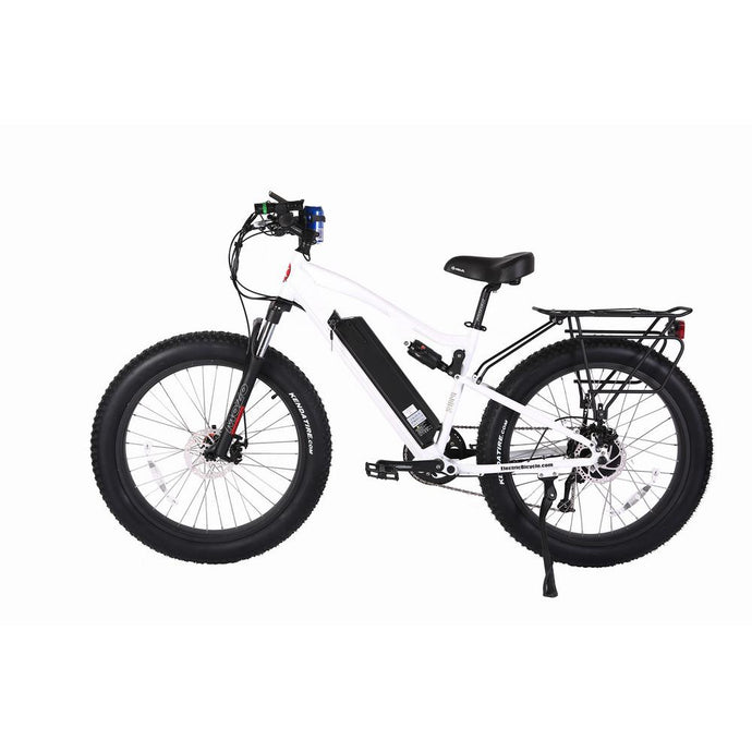 Electric Bike - X-Treme Rocky Road Pro Fat Tire Electric Mountain Bicycle 500W 48 Volt 17ah - WHITE