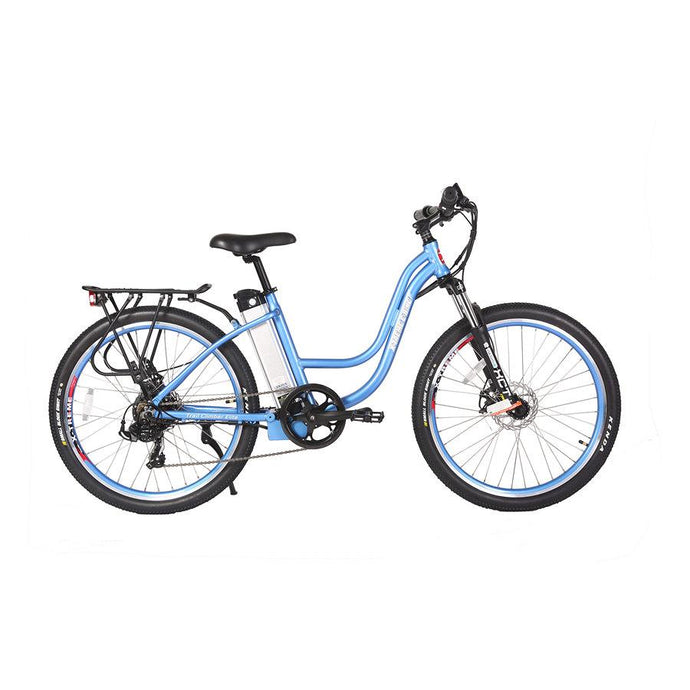 Electric Bike - X-Treme Trail Climber Elite Step Through Electric Bicycle - 24 Volt - BABY BLUE