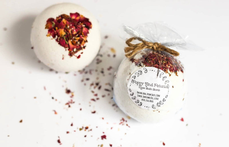 Poppy And Petunia Rose Bath Bomb - ECOLONE Beauty