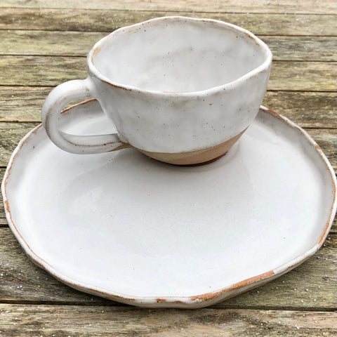 Cup and Plate Set | White Speckle