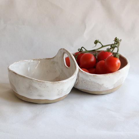 Duo Serving Bowl | Speckle White