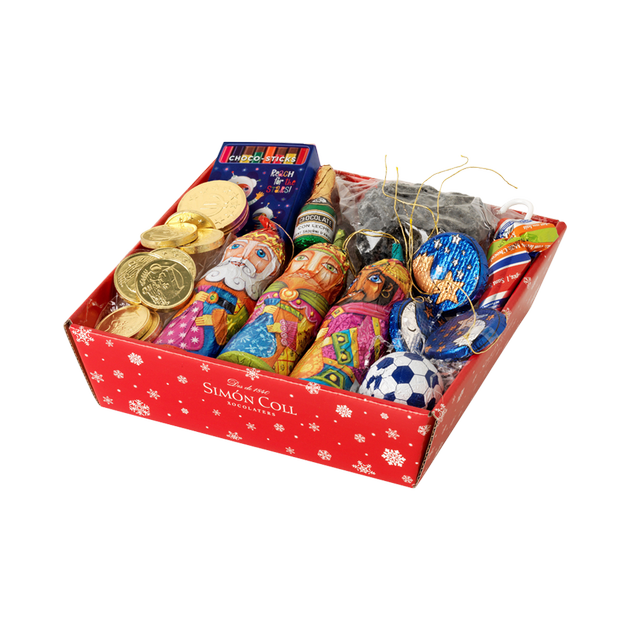 Christmas Basket Filled with Fun Milk Chocolates for Kids - Includes a Lump of Coal! - oloandco