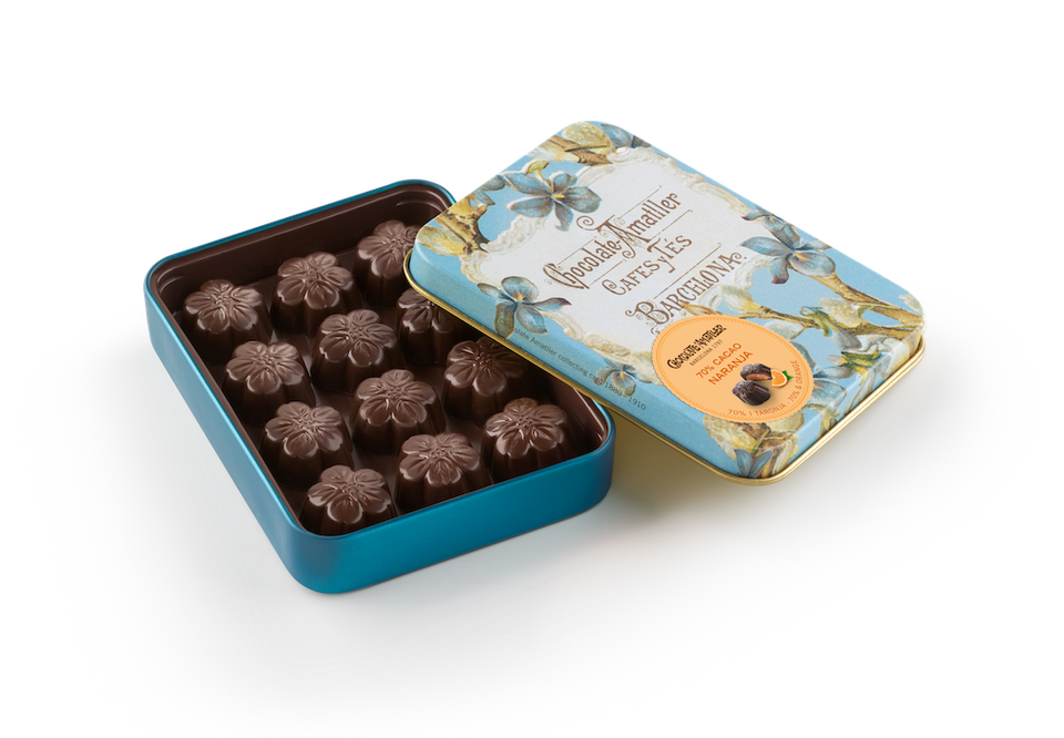 Dark Chocolate filled with Orange Flowers in Tin Collectable Gift 72g (Case of 10 tins) - oloandco