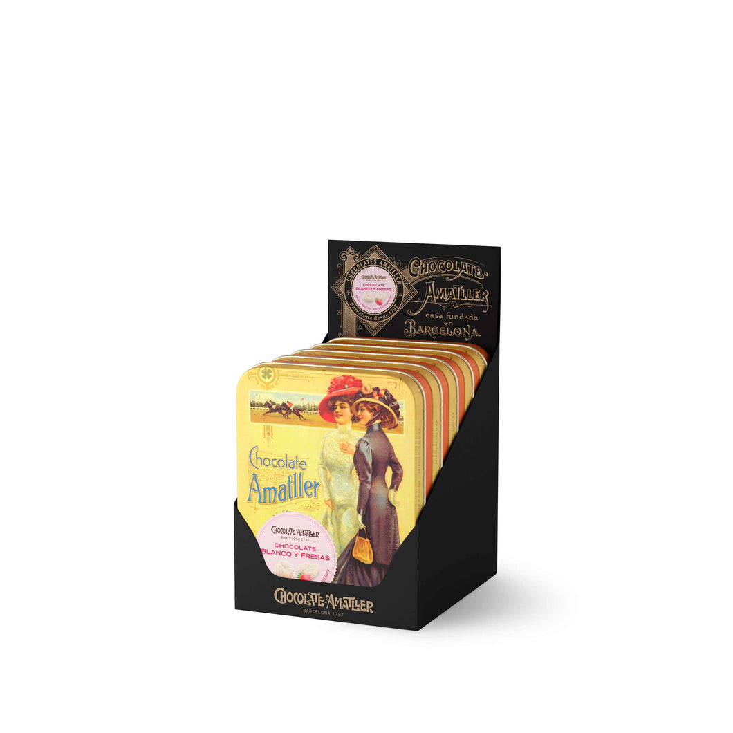 White chocolate and strawberry leaves tin 60g (Case of 5 Tins) - oloandco