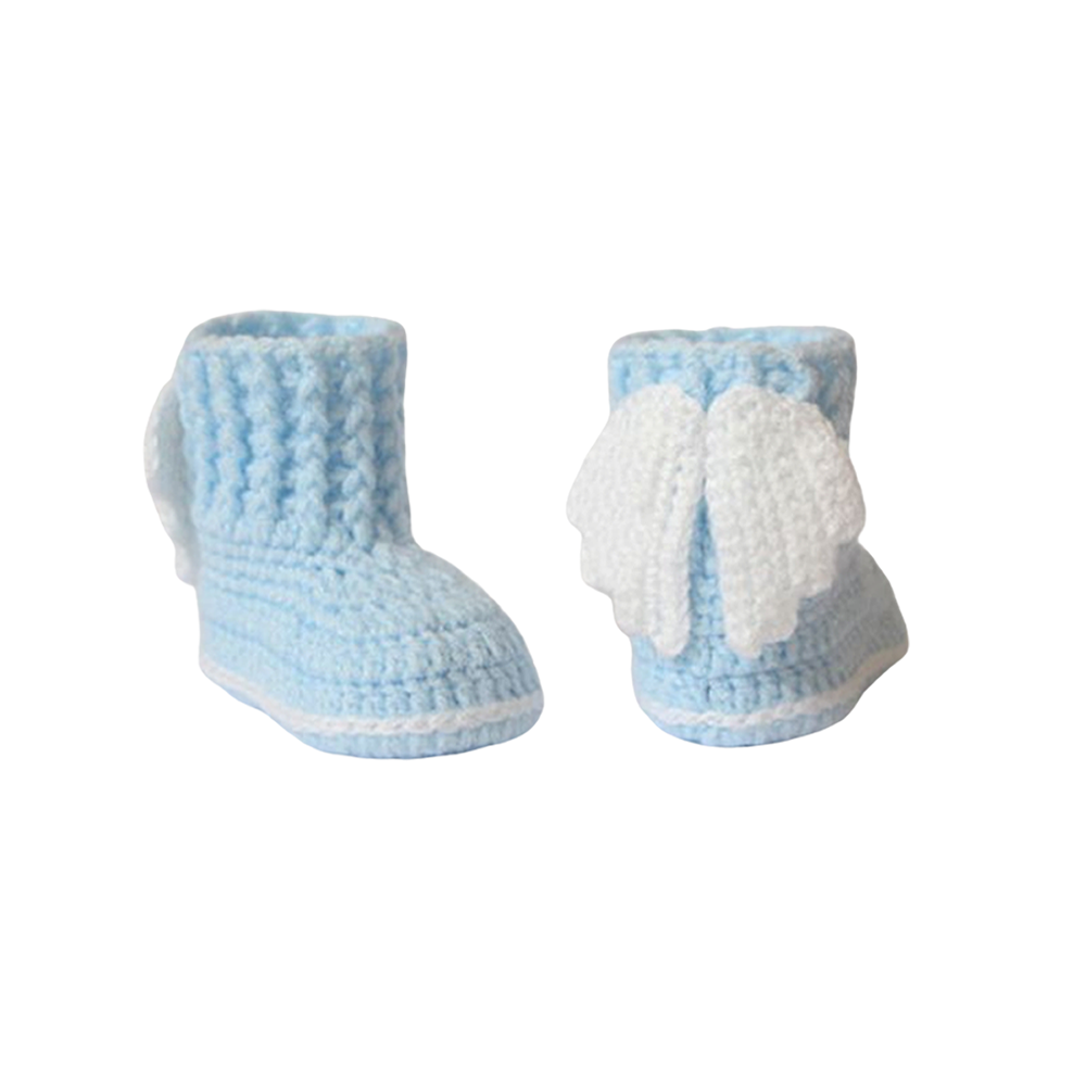 Newborn Crochet Angel Booties in Blue