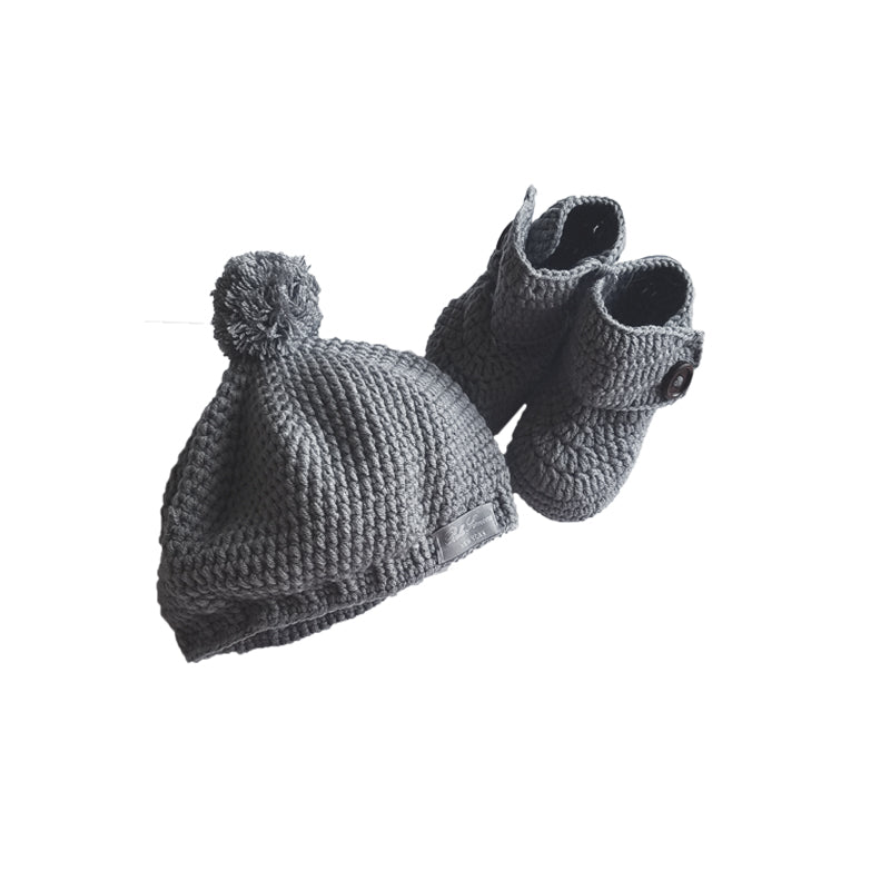Crochet High Top Baby Bootie & Hat Gift Set in Charcoal Gray