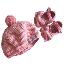 Load image into Gallery viewer, Crochet Pom Pom Hat in Rose Pink