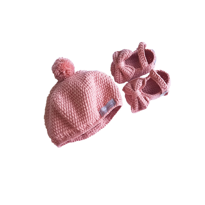 Crochet Baby Mary Jane Booties & Hat Gift Set in Rose Pink