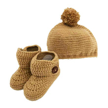 Load image into Gallery viewer, Crochet Pom Pom Hat in Sand Brown