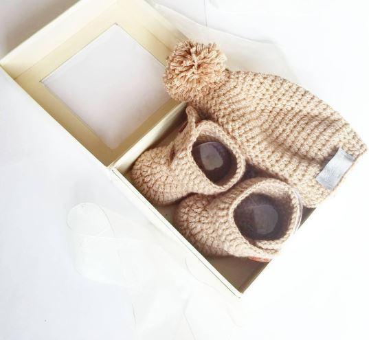 High Top Crochet Baby Bootie & Hat Gift Set in Sand