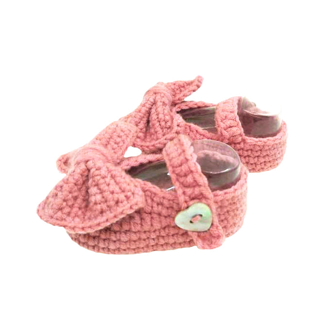Crochet Mary Jane Booties in Rose Pink (Infant)