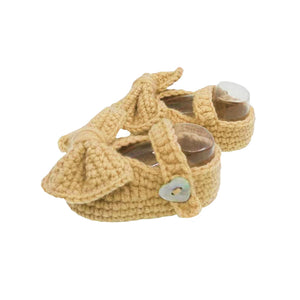 Crochet Baby Girl Mary Jane Booties in Sand Brown